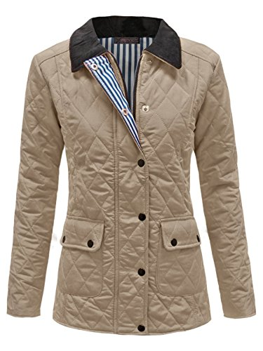 ENVY Boutique Damas GUATEADO Acolchado Botón Cremallera mujer chaqueta de invierno abrigo arriba Tallas Grandes 8-20 Piedra Gris