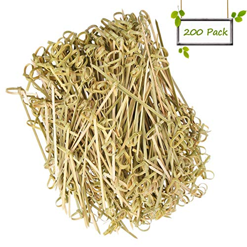 """DC-BEAUTIFUL 200 Pack Natural Bamboo Knot Skewers, 6 Inch Bamboo Twisted End Cocktail Picks, Appetizer Picks for Party Snacks Club Sandwiches Finger Food Barbecue Must (6.0"""")"""