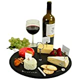 Round Handcrafted Natural Slate Cheese Board with Soapstone Chalk and Cheese Markers - 14'' diameter x 1/4'' thick