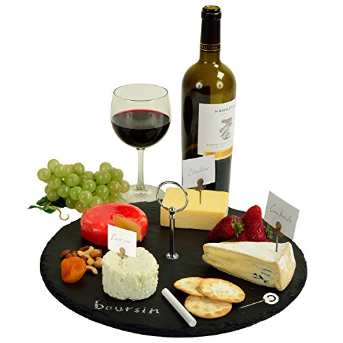 Round Handcrafted Natural Slate Cheese Board with Soapstone Chalk and Cheese Markers - 14