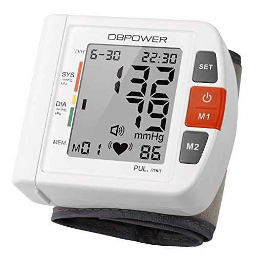 Professioneller Handgelenk Blutdruckmessgerät von DBPOWER, hohe Genauigkeit, 180 Speicherplätze, Zwei Nutzermodi mit IHB und WHO Indikator, CE FDA-zertifiziert