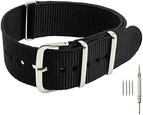 20mm Black Nylon Replacement Watch Strap with Free Installation Kit Including 4 Spring Bars and Removal Tool - [BWC]