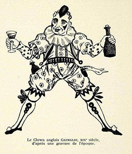 1931 Lithograph Joseph Grimaldi English Clown Costume Pantomime Theatre AEC2 - Original In-Text Lithograph