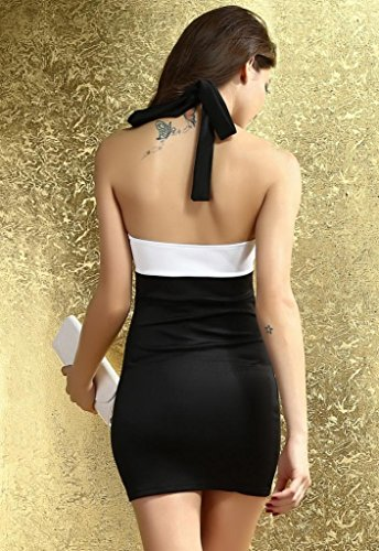 Bigood Robe Bandage Femme Epaule Dos Nu Soirée Cérémonie Elégant