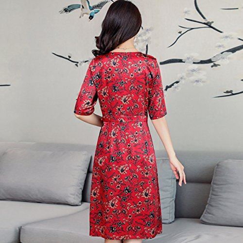 Vintage DISSA Women Summer Dress Cocktail Midi Sleeveless Red Silk S2829 Plus Size 447xqwpC
