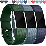 Wepro Replacement Bands for Fitbit Charge 2, 3-Pack Fitbit Charge2 Wristbands, Small, Navy Blue, Slate Blue, Tarmac