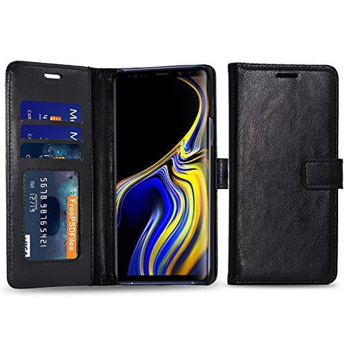 Cubevit Galaxy Note 9 Case, Premium PU Leather Wallet Case [Support Wireless Charging], [Kickstand+3 Card Slots+Magnetic Closure] Slim Flip Folio Protective Phone Cover for Samsung Galaxy Note 9 - Covers Phone Wireless