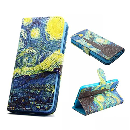 - Iphone 6 Case, Iphone 6S Wallet Case - Van Gogh Starry Night Pattern Premium PU Leather Wallet Card Holder Pouch Flip Case Cover with Stand Function for Apple iphone 6 iphone 6S