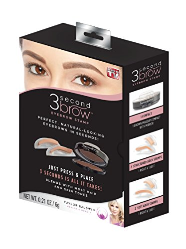 - 3 Second Brow Eyebrow Stamp - Perfect, Natural-Looking Eye Brows in Seconds | Water Resistant, Long Lasting, All Natural Color