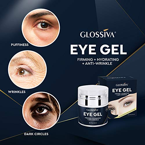51gzqNNWnOL - Glossiva Eye Gel, Hyaluronic acid for Wrinkles, Fine Lines, Dark Circles, Puffiness, Under Eye Bags - Hydrating, Firming, Rejuvenates Skin - Advanced Repair Formula 1.7 Fl Oz