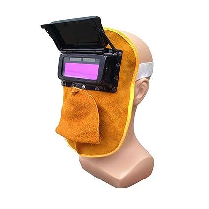 VISTANIA Oscurecimiento Soldadura Casco Máscara Soldadores Transpirables Máscara Casco Cuero Pulido Soldadura Chal Aislamiento térmico Antivibraciones