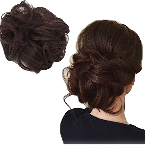 Focussexy Scrunchie Bun Up Do Hair piece Hair Ribbon Ponytail Extensions Wavy Curly or Messy 14 Difference - Hairpiece Fall