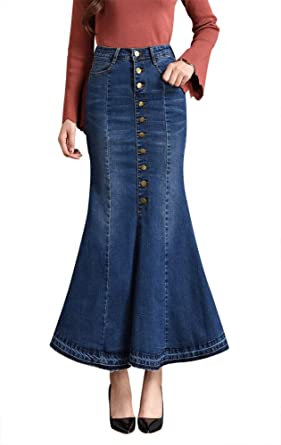 a00ca63059 LISUEYNE Women s Casual Stretch Waist Washed Denim Ruffle Fishtail Skirts  Long Jean Skirt (Navy Blue