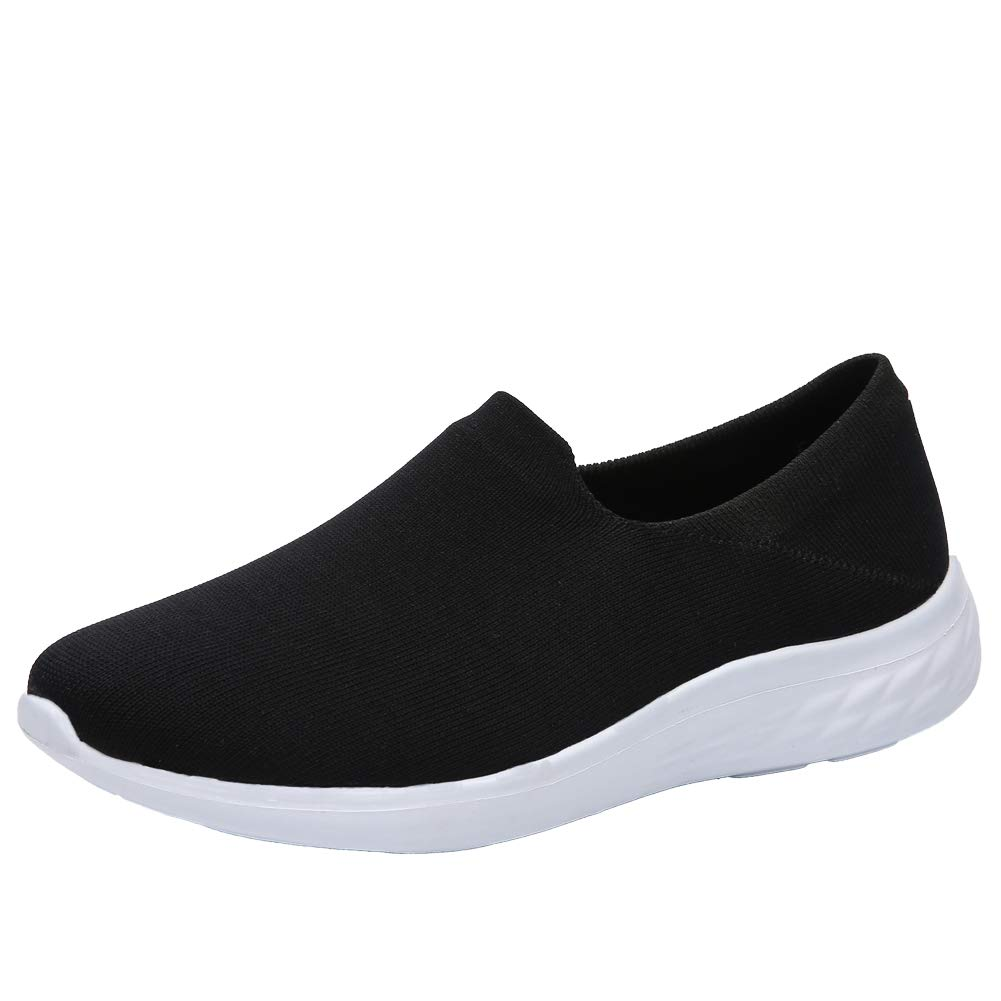 Black UNN Women's Walking shoes Slip-On Lightweight Casual Breathable Mesh Athletic Sneakers Loafer Flat