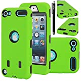 iPod Touch 5 Case, E LV iPod Touch 5 Case - Hard and Soft Hybrid Armor Defender Sports Combo Case for Apple iPod Touch 5 iTouch 5th Generation with 1 Screen Protector, 1 Black Stylus, 1 Water Resistant Bag and 1 E LV Microfiber Digital Cleaner (GREEN / BLACK)