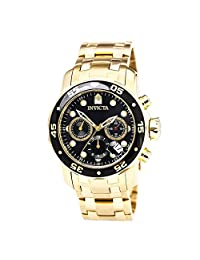 Invicta Men's 72 Pro Diver Collection Chronograph 18K Gold-Plated Watch, Black