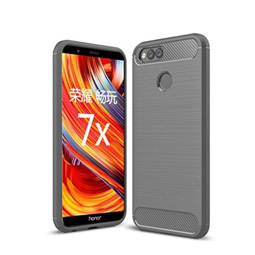 Funda Huawei Honor 7X,Funda Fibra de carbono Alta Calidad Anti-Rasguño y Resistente Huellas Dactilares Totalmente Protectora Caso de Cuero Cover Case Adecuado para el Huawei Honor 7X B