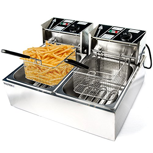 Biltek Commercial Deep Fryer Electric Countertop Dual Tank Basket 11L 3200W up to 374 Deg F