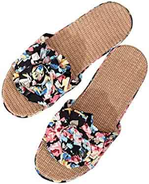 6a7f29ef0f4 xinnio Women Floral Open Toe Flower Decor Flat Bathroom Indoor Slipper  Slippers