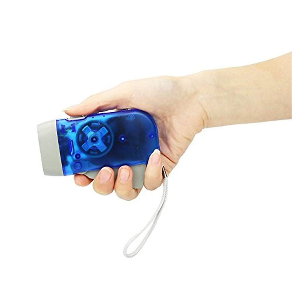 Bleu TuDu 3 LED Creative Lampe de Poche Lumi/ère de la Torche Main /à Pression Manuelle Lumi/ère de Camping Manivelle Pratique avec /Écharpe Confortable