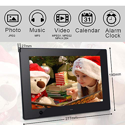 Digital Photo Frame 10 inch IPS Display Electronic Picture Frame with Motion Sensor 1080P HD LCD Display, Video Player/ MP3/ Calendar/Zoom in & Rotate Pictures/Remote Control [Jimwey] by Jimwey (Image #3)