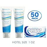 BERGMAN KELLY Soap Bars, Shampoo and Conditioner 3-Piece Travel Amenities Hotel Toiletries In Bulk Guest Size Bottles and Bars (Hotel Size 1 Oz, 50 Pack)
