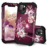 Hocase iPhone 11 Pro Case, Heavy Duty Shockproof Protection Hard Plastic+Silicone Rubber Bumper Hybrid Protective Phone Case with Floral Design for iPhone 11 Pro 5.8' (2019) - Burgundy Flowers