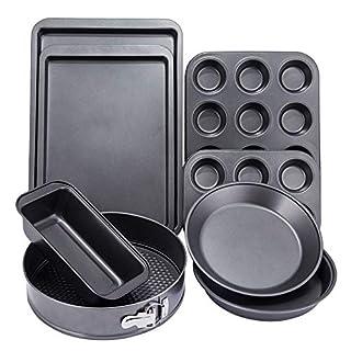 NARCE 8-Piece Nonstick Bakeware Set | Chef Favorites:Nonstick Baking Sheets,Loaf,Muffin,Pizza Pan,Pie Pan,Springform|