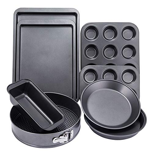 NARCE 8-Piece Nonstick Bakeware Set | Chef Favorites:Nonstick Baking Sheets,Loaf,Muffin,Pizza Pan,Pie Pan,Springform|