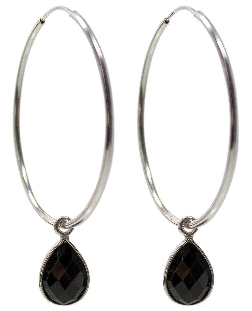Black Onyx Hoops