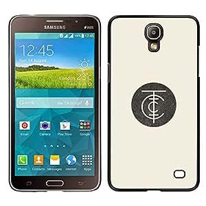LECELL--Funda protectora / Cubierta / Piel For Samsung Galaxy Mega 2 -- minimalista logotipo de empresa amarillento retro --