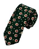 Lutratocro Men's Elegant Cotton Floral Print Skinny Tie Comfort Necktie Green One-Size