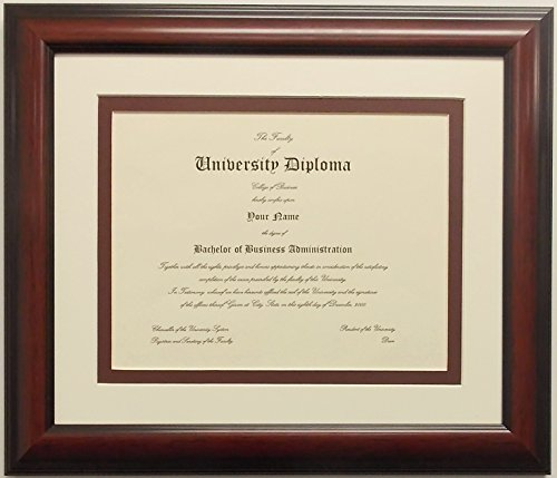 Graduation Diploma College or University 8-1/2 X11 Certificate Document Double Mat Mahogony Frame