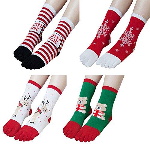 Christmas Socks Cotton Crew Xmas Toe Socks for Lovers Family Adults Children 4 (For Bare Feet Cotton Crew Socks)