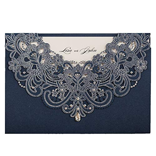 (WISHMADE 50pcs Navy Blue Laser Cut Flora Lace Wedding Invitations Cards with Rhinestone for Birthday Baby Shower Engagement Wedding invites and Envelopes (Pack of 50pcs))
