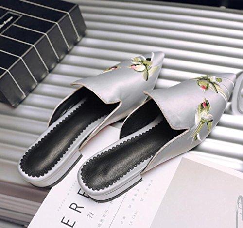 DANDANJIE 44 Sandales Broderie Rétro 32 Gris Pointée à Chaussures Bas Gray de de Soie Rouge Femmes Talons et D'Été Chaussures Mode Noir de Pantoufles Plates FFdpgqwr
