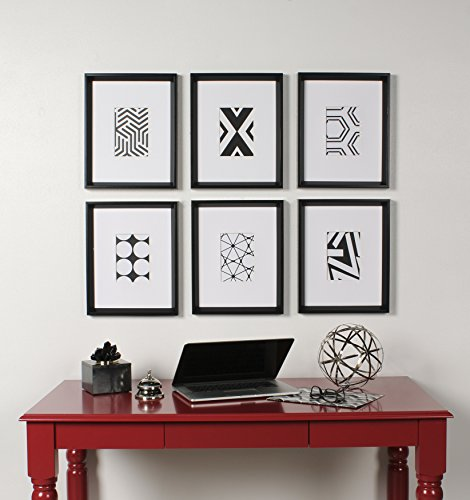 Kate and Laurel Calter 6 Framed Modern Black and White Geometric Abstract Art Prints, Black (Framed Prints Black White)