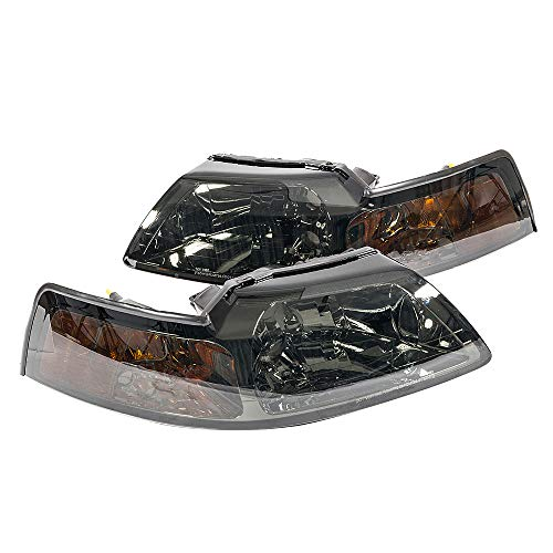 (MILLION PARTS Pair Front Headlight Assembly for 1999 2000 2001 2002 2003 2004 Ford Mustang Left Right Side Replacement Headlamps Driving Light Black+ Smoke Housing Clear)