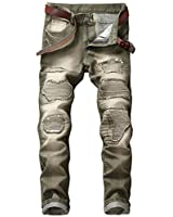 YTD Mens Distressed Ripped Biker Slim Jeans...