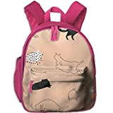 These Cat Printed Kids School Backpack Cool Children Bookbag Pink