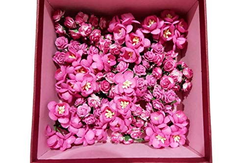 (N.81) 70 Pcs Mixed Rose & Daisy Mulberry Pink Tone Paper Flower Mixed Scrapbooking Wedding