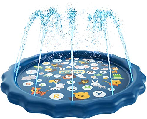 SplashEZ 3-in-1 Sprinkler for Kids, Splash Pad, and Wading Pool for Learning - Children's Sprinkler Pool, 60'' Inflatable Water Toys -
