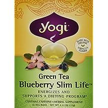 Green Tea Blueberry Slim Life, 16 bags by Yogi (Pack of 2)