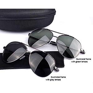 Aviator Unisex Sunglasses Polarized - UV 400 Protection 60mm (Gunmetal Frame, Grey)