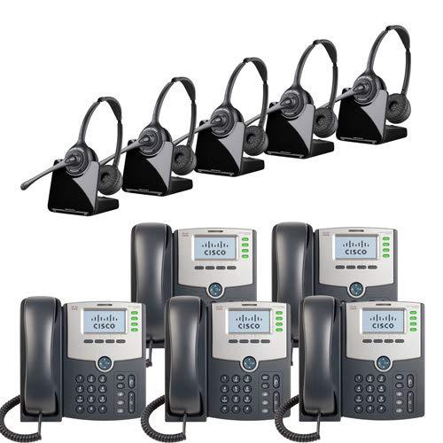 - Plantronics CS520-XD Wireless Binaural Headset Cisco SPA504G 4-Line IP Phone 2-Port Switch, PoE LCD Display, Silver, Grey (5 Pack) Combo