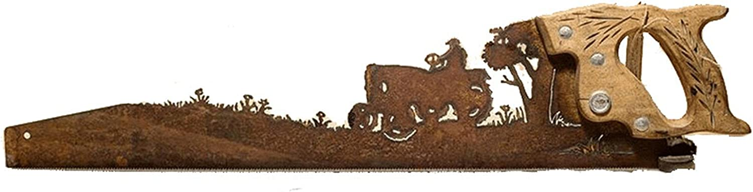 Father's Day Unique Gift Metal Art Tree Wall Decor, Hand Cut Plasma Torch Design on an Old Saw-Farmer on Tractor, Cut Hand Saw Metal Art, Rustic Look Hanging Ornament