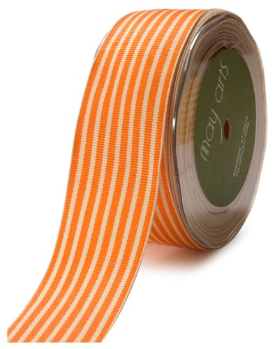 May Arts 1-1/2-Inch Wide Ribbon, Orange Grosgrain Stripe ()
