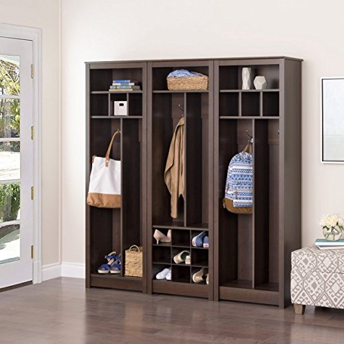 Space-Saving Entryway Organizer with Shoe Storage - Espresso, 2 Double Coat Hooks, Composite Wood Laminate, Rich Espresso Finish, an Open Shelf is Ideal For Hand Warmers and Scarves by GAShop