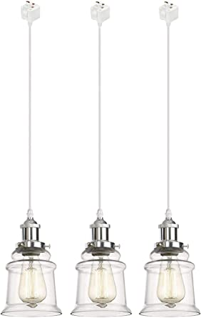 Clear Glass Shade Industrial Hanging Lamp Kiven Juno Lighting 3 Pack J- Series Track Lighting Kitchen Pendant Light UL Listed-Total Length 12 from Track Adapter to Bottom of The Shade