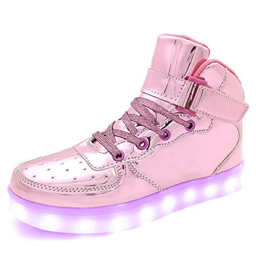 APTESOL Kids Youth LED Light Up Sneakers Boys Girls High Tops Cute Cool Flashing Shoes Halloween Xmas School Party Dancing Shoes, Pink, 4.5 M US Big Kid -